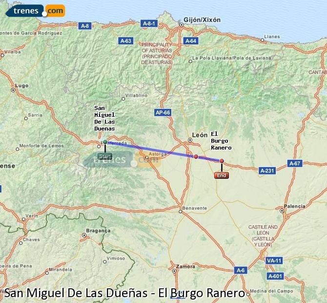 Ingrandisci la mappa Treni San Miguel De Las Dueñas El Burgo Ranero