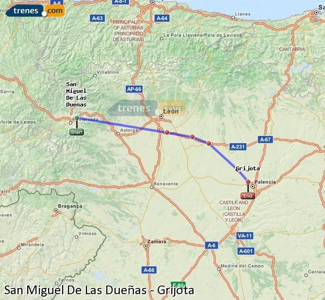 Agrandir la carte Trains San Miguel De Las Dueñas Grijota