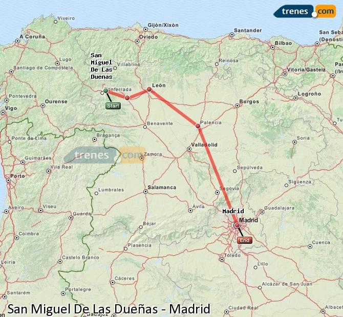 Karte vergrößern Züge San Miguel De Las Dueñas Madrid