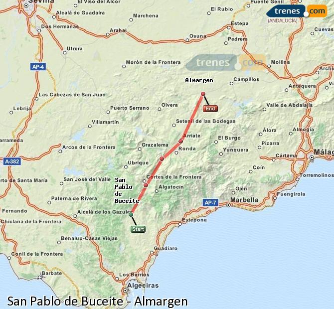 Enlarge map Trains San Pablo de Buceite to Almargen