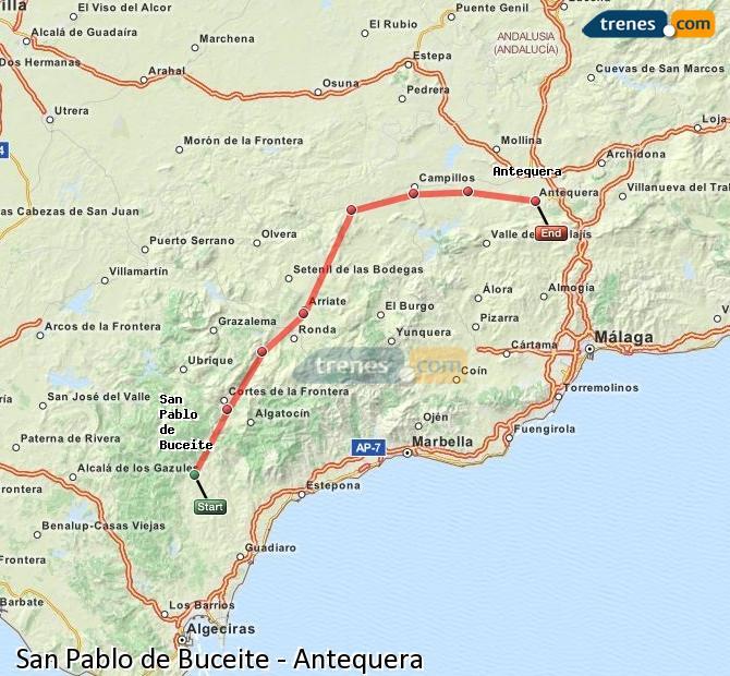 Agrandir la carte Trains San Pablo de Buceite Antequera