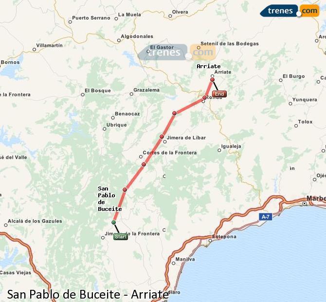 Ampliar mapa Trenes San Pablo de Buceite Arriate