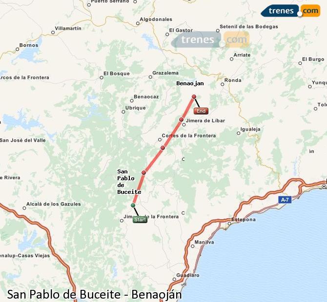 Ampliar mapa Trenes San Pablo de Buceite Benaoján
