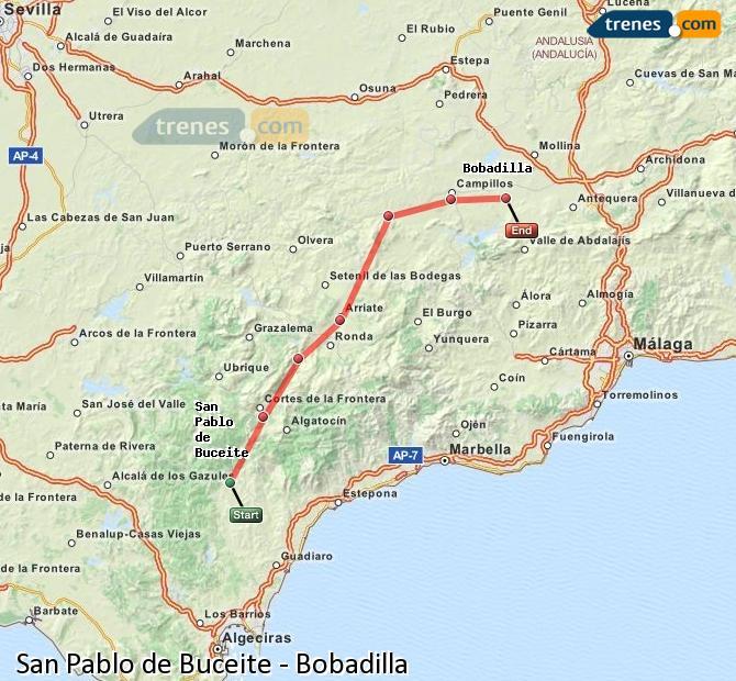Enlarge map Trains San Pablo de Buceite to Bobadilla