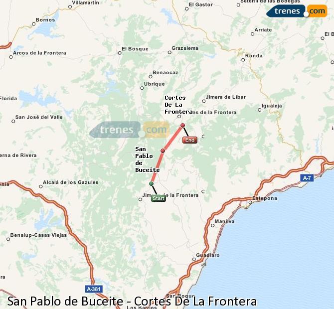 Agrandir la carte Trains San Pablo de Buceite Cortes De La Frontera