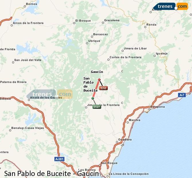 Ampliar mapa Trenes San Pablo de Buceite Gaucín