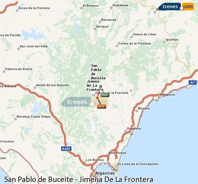 Ampliar mapa Trenes San Pablo de Buceite Jimena De La Frontera