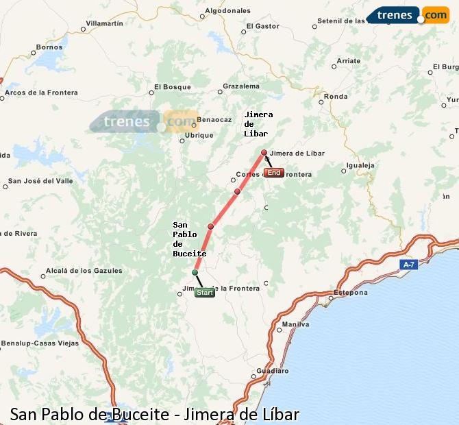 Ampliar mapa Comboios San Pablo de Buceite Jimera de Líbar