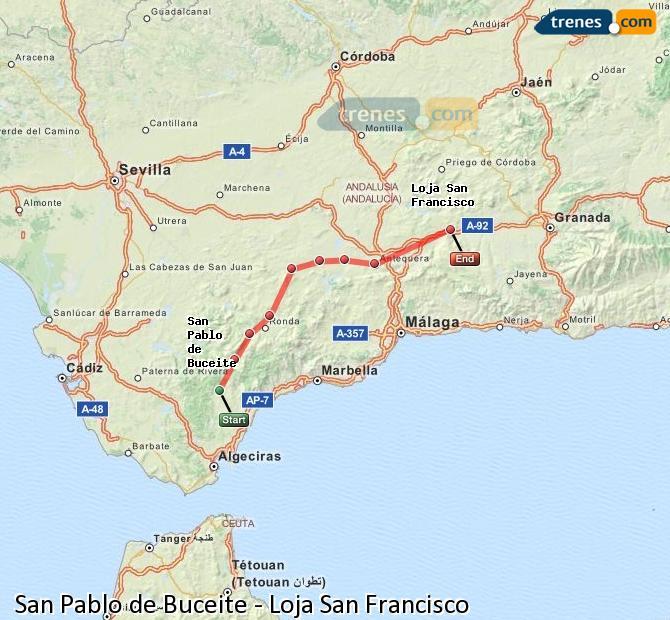 Enlarge map Trains San Pablo de Buceite to Loja San Francisco