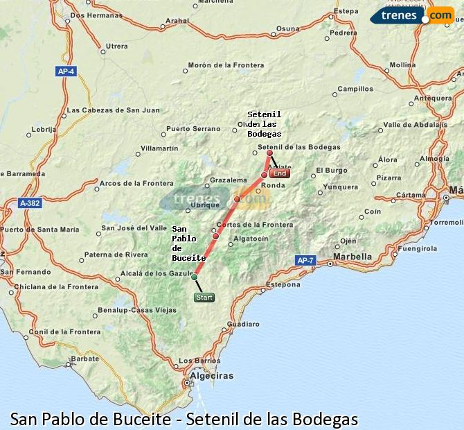 Enlarge map Trains San Pablo de Buceite to Setenil de las Bodegas