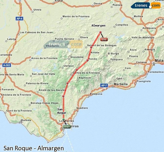 Agrandir la carte Trains San Roque Almargen