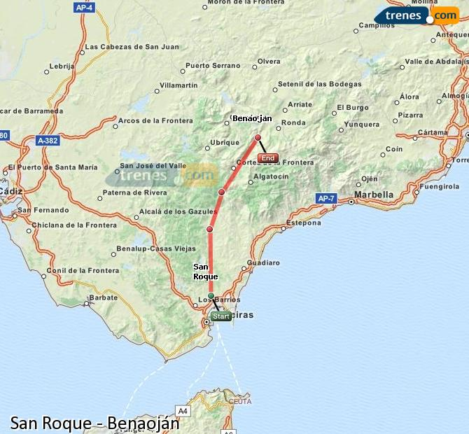 Enlarge map Trains San Roque to Benaojan