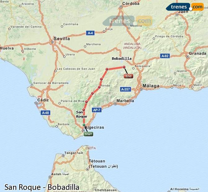 Agrandir la carte Trains San Roque Bobadilla
