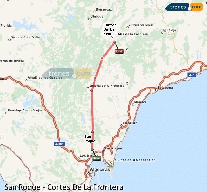 Enlarge map Trains San Roque to Cortes De La Frontera