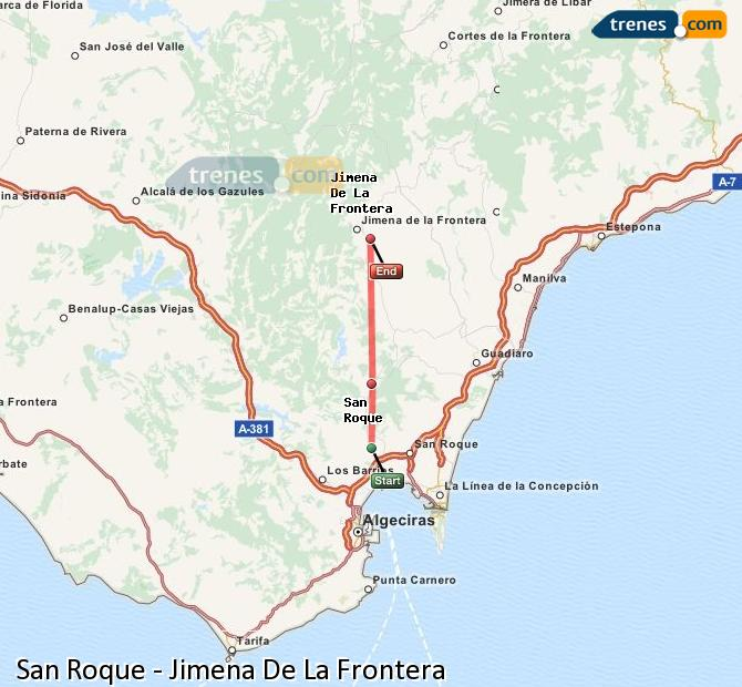 Ingrandisci la mappa Treni San Roque Jimena De La Frontera