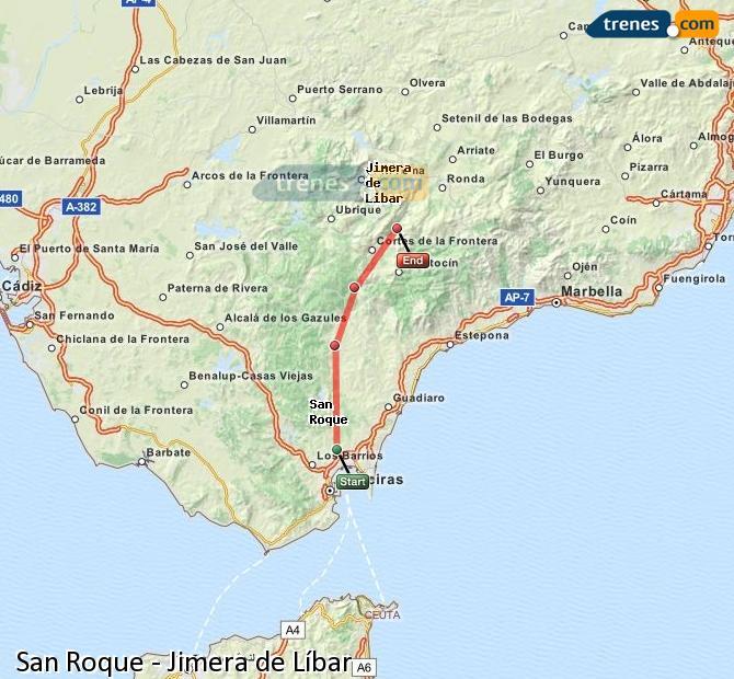 Agrandir la carte Trains San Roque Jimera de Líbar