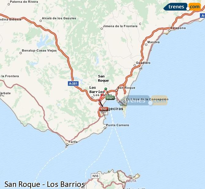 Enlarge map Trains San Roque to Los Barrios
