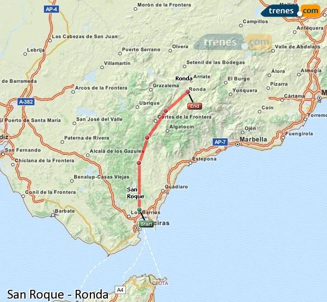 Enlarge map Trains San Roque to Ronda