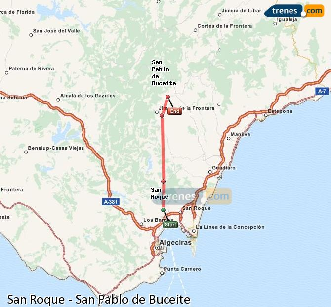 Ingrandisci la mappa Treni San Roque San Pablo de Buceite