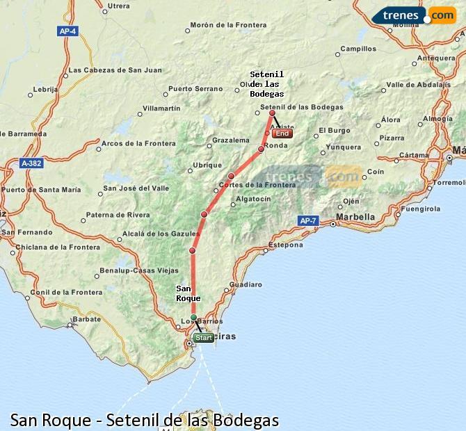 Agrandir la carte Trains San Roque Setenil de las Bodegas