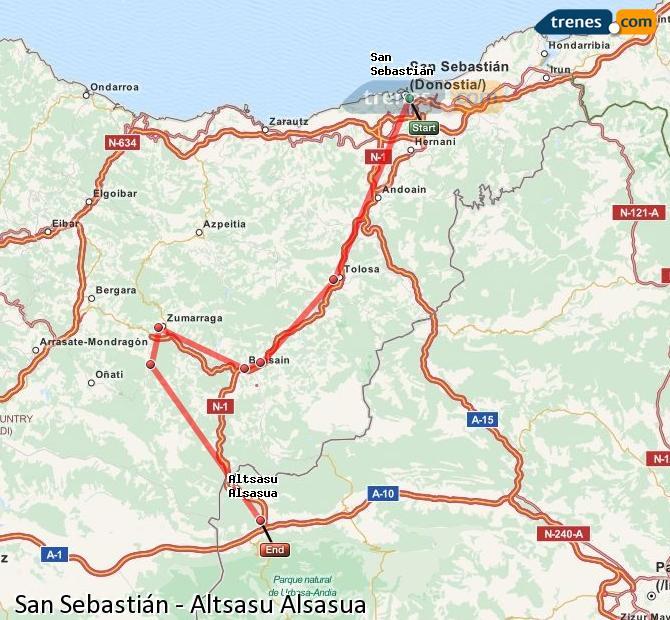 Agrandir la carte Trains San Sebastián Altsasu Alsasua