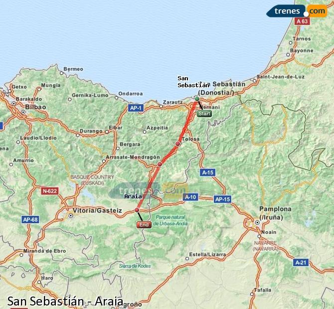 Agrandir la carte Trains San Sebastián Araia