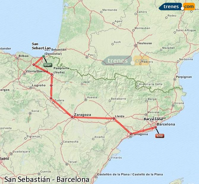 Enlarge map Trains Saint Sebastian to Barcelona