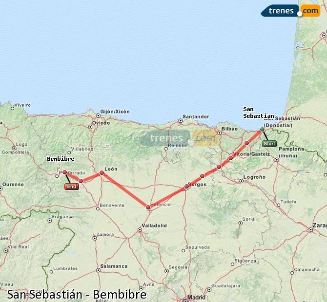 Ingrandisci la mappa Treni San Sebastián Bembibre