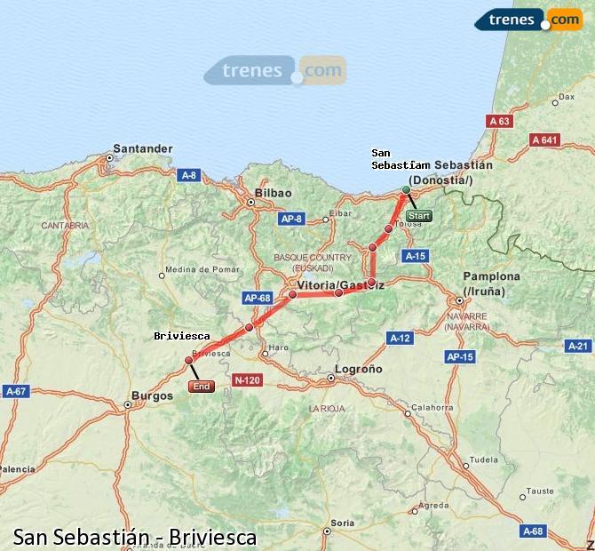 Karte vergrößern Züge San Sebastián Briviesca