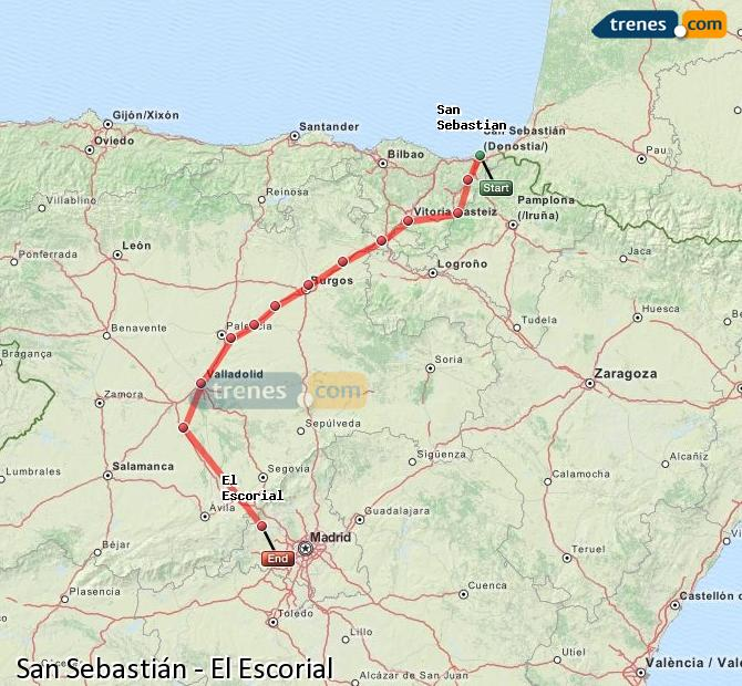 Enlarge map Trains Saint Sebastian to El Escorial