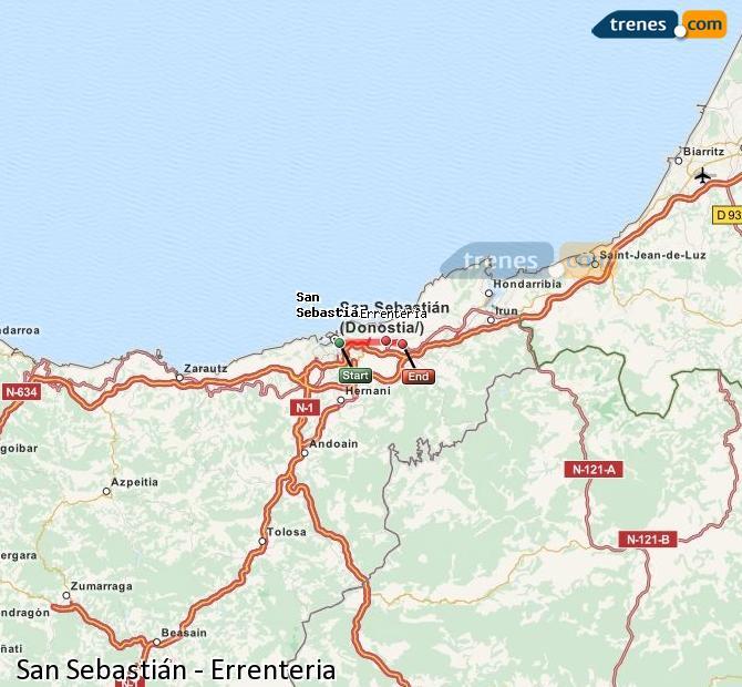 Ampliar mapa Trenes San Sebastián Errenteria