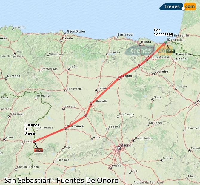 Enlarge map Trains Saint Sebastian to Fuentes De Oñoro