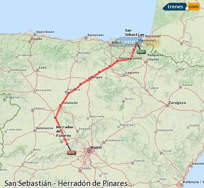 Karte vergrößern Züge San Sebastián Herradón de Pinares