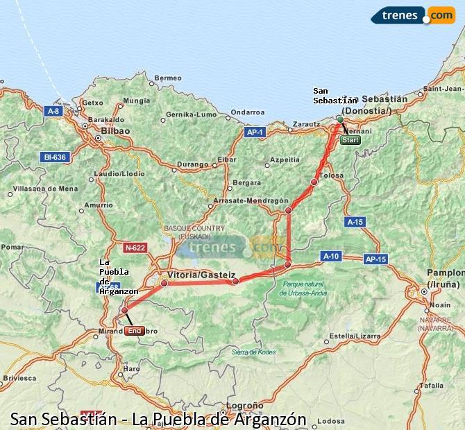 Karte vergrößern Züge San Sebastián La Puebla de Arganzón