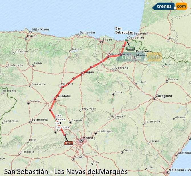 Ingrandisci la mappa Treni San Sebastián Las Navas del Marqués