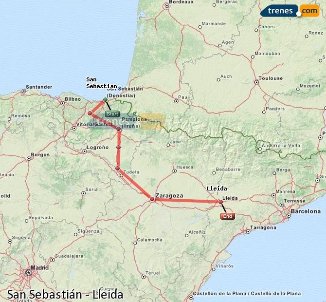 Ingrandisci la mappa Treni San Sebastián Lleida