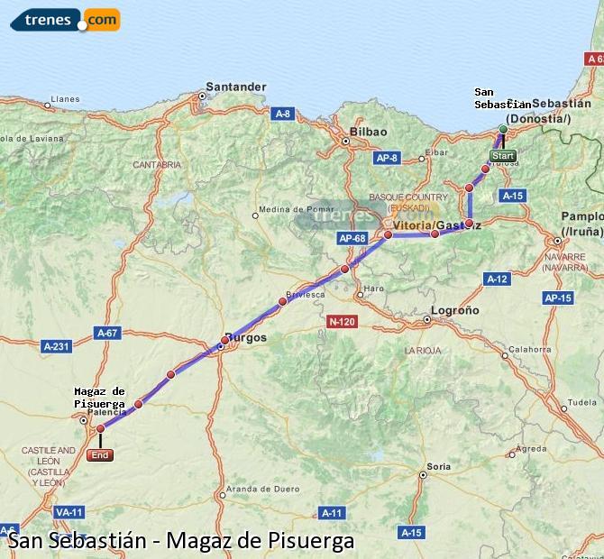 Ingrandisci la mappa Treni San Sebastián Magaz de Pisuerga