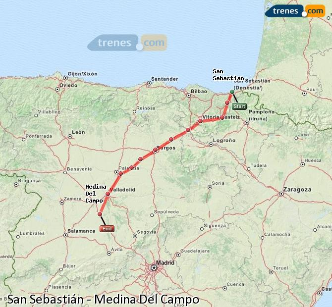 Karte vergrößern Züge San Sebastián Medina Del Campo