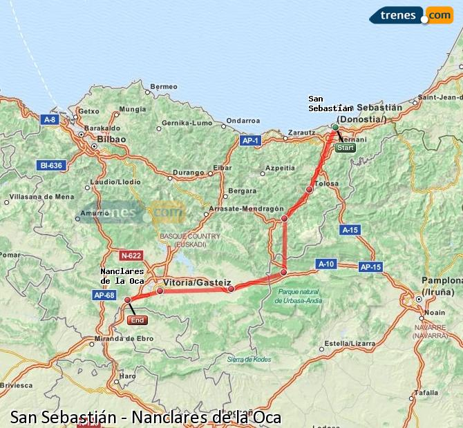 Enlarge map Trains Saint Sebastian to Nanclares de la Oca