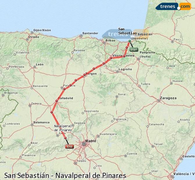 Agrandir la carte Trains San Sebastián Navalperal de Pinares