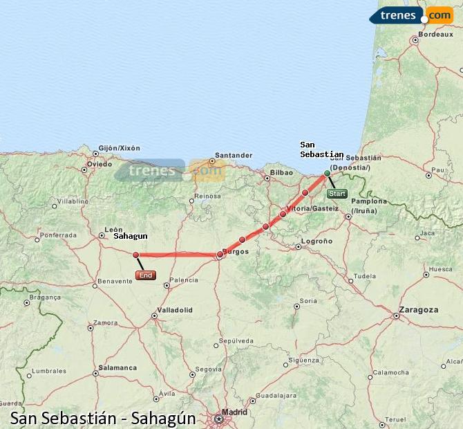 Enlarge map Trains Saint Sebastian to Sahagun