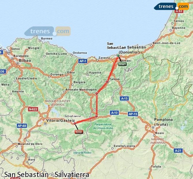 Agrandir la carte Trains San Sebastián Salvatierra