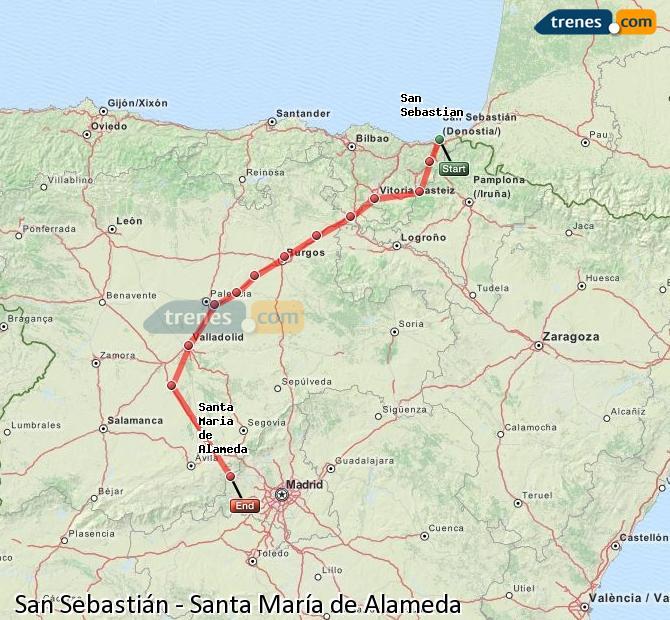 Enlarge map Trains Saint Sebastian to Santa Maria de Alameda