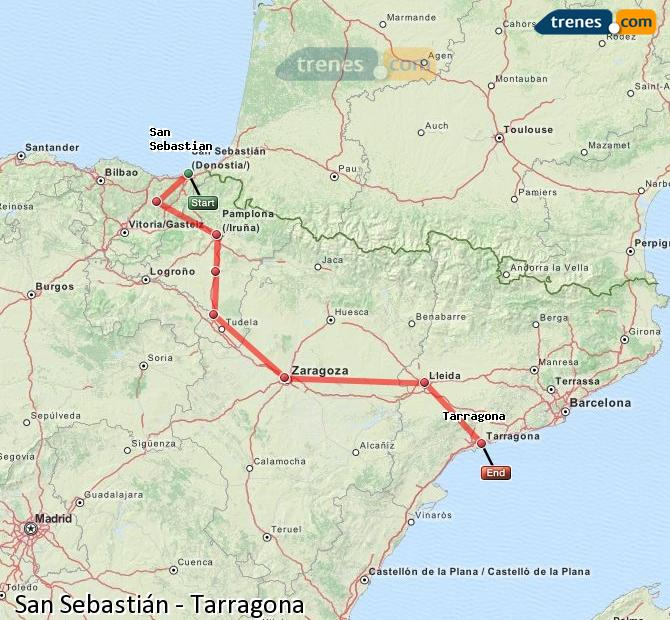 Enlarge map Trains Saint Sebastian to Tarragona