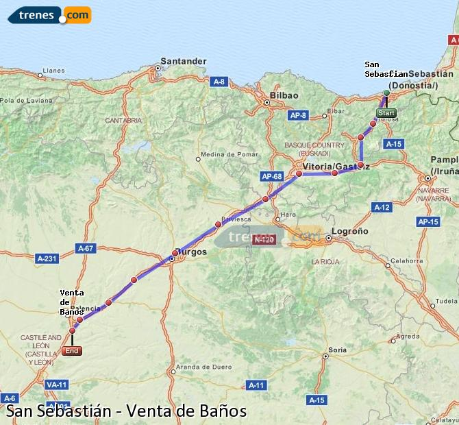 Banos San Sebastian.Cheap Saint Sebastian To Venta De Banos Trains Tickets From