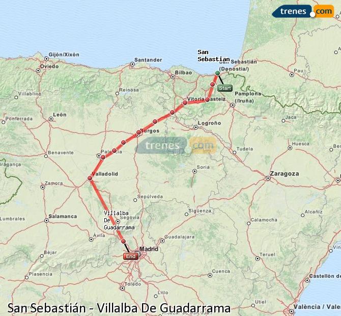 Karte vergrößern Züge San Sebastián Villalba De Guadarrama