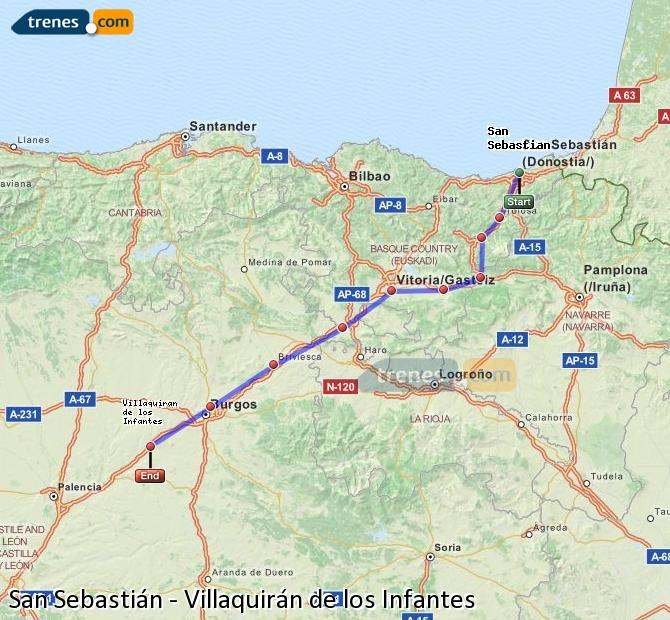 Karte vergrößern Züge San Sebastián Villaquirán de los Infantes