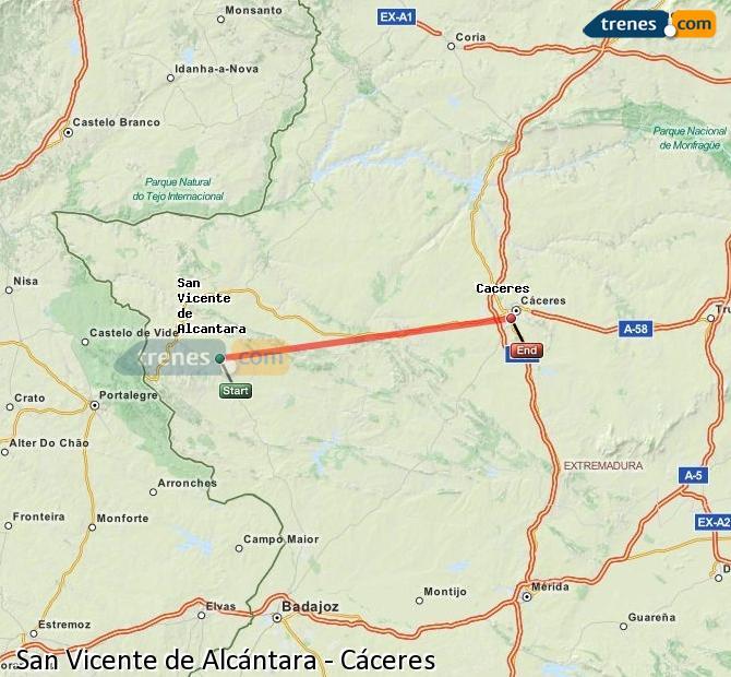 Ampliar mapa Comboios San Vicente de Alcántara Cáceres