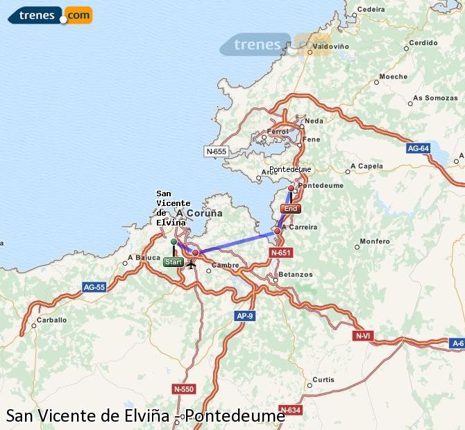Ingrandisci la mappa Treni San Vicente de Elviña Pontedeume