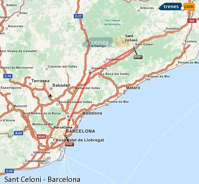 Ampliar mapa Comboios Sant Celoni Barcelona